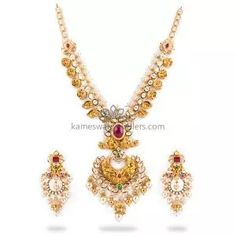 Buy Necklaces Online   Kanti Carved With CZ Pachi Pendant from Kameswari Jewellers Bold Necklace, Simple Necklace, Gold Bar Earrings, Gold Jewelry Simple, Antique Necklace, Necklace Online, Jewels, Jewerly, Gemstones