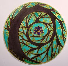 Tree of Enlightenment Mandala art tree of life art spiritual art meditation art silk painting, gold gutta Silk Painting, Stone Painting, Painting Art, Painted Rocks, Hand Painted, Painted Silk, Spiral Tree, Art Rupestre, Art Pierre