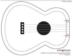 Guitar felt pattern no1, make in felt or cut out of stock card for a lovely music scrapbook page or card