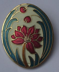 """Sea Gems UK"" Cloisonne Enamel Flower Brooch"