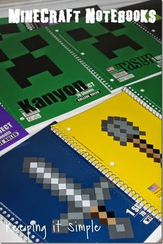 Minecraft Notebooks created with vinyl and the Silhouette | Perfect for back to school!