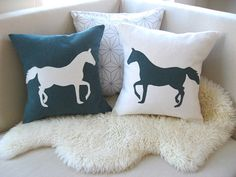 Horse Pillow Cover Pair, READY TO SHIP, Equestrian Decor, Horse Appliqué Silhouette, Rustic Luxe, Spruce Evergreen & Winter White 18x18