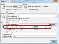 Learn how to delay sending an email in Outlook 2010.