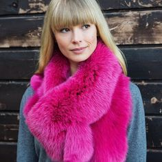 Hotpink Fox Fur Cowl Collar Ooak Toronto Booth P48 199 Thanks