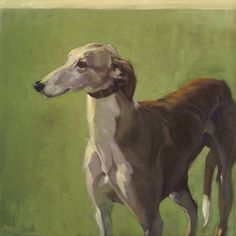 Sandra Flood, paintings of greyhounds. The discrepancy between dark palette and light mood creates an effect of surprise and subsequently suspense. In these greyhound paintings this stylistic feature (of mood and color counterpoise) fin...
