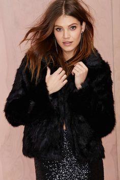 Glamorous Furred Lines Faux Fur Jacket - Black