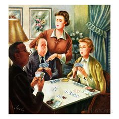 """Bridge Game"", October 14, 1950 Giclee Print by Constantin Alajalov at AllPosters.com"