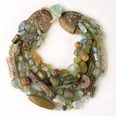 "Unique pendant necklace, a typical ""Gerda midden"" made of antique Jade, Aquamarine, Kunzit, Ande Opal Necklace."