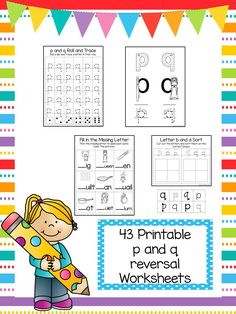 One of our ELA/Phonics Worksheet Packets.Here is what you get!40 No Prep p and q Letter Reversal Worksheets. Help your child with the reversal letters… Kindergarten Language Arts, Phonics Worksheets, Letter F, Cool Lettering, Literacy Centers, Homeschool, Child, Teaching, Activities