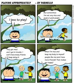 Playing appropriately social skills cartoon!