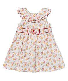 Look what I found on #zulily! Yellow & Pink Floral Yoke Dress - Girls #zulilyfinds