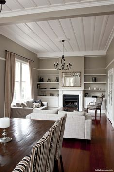 """A New Zealand villa :: Habitat of the Week : Resene Triple Ash walls with Resene Black White trim : Ash or Ash might work, though maybe slightly too """"green""""? Colorful Interiors, Interior, Home, Villa Style, Long Room, Villa, House Interior, Bungalow Renovation, Home And Living"""