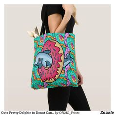 Shop Cute Pretty Dolphin in Donut Candy Hoop Tote Bag created by ONME_Prints. Shopping Bag Design, Go Shopping, Tie Shop, Colorful Candy, Animal Skulls, Kawaii Cute, Dolphins, Reusable Tote Bags, Fancy