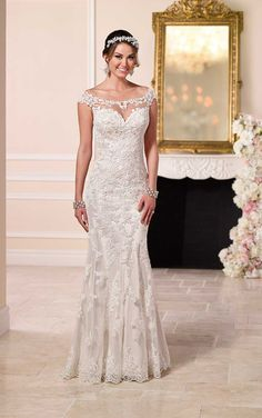Satin Sheath Illusion Neckline Wedding Dresses | Stella York