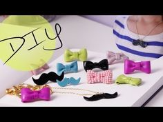 DIY Bow And Mustache Necklace