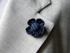 Men lapel pin |  flower boutonniere | Mens accessories | Pinstripe lapel flower | Blue or charcoal