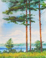 Watercolor painting landscape.Lake and pine.Watercolor hand drawn illustration.Summer.