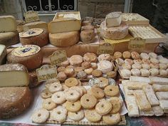 Cheeses at a farmers market in the south of France. (mollshot/flickr) all rights reserved
