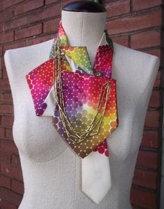 Sold this tonight- headed to N.C.-My fav! Constance Upcycled Handstitched Necktie Collar with Chain-Shaniko.
