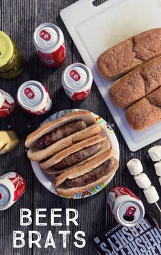 Beer Brats! A crowd favorite for any cookout or camping trip. Fill a pot with 1-2 beers , and a similar amount of water. Begin boiling the water/beer mixture over medium heat, add brats, and boil until they aren't pink anymore. Grill the brats on a grill or over a campfire, and garnish with mustard and relish. Enjoy!