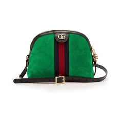 Gucci Ophidia GG suede cross-body bag (€1.475) ❤ liked on Polyvore featuring bags, handbags, shoulder bags, green, green suede handbag, green purses, striped purse, crossbody shoulder bag and gucci crossbody