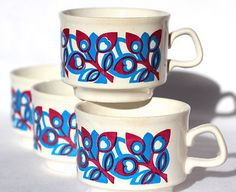 Staffordshire Potteries Ltd England Teacups Coffee Cups set of four