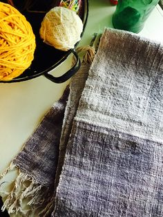 handwoven natural dyed organic cotton shawl: Java plum color 2 shades