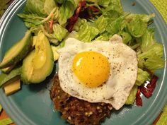 Hatch Green Chile Burgers with Fried Egg - hatch green chiles, ground beef (try subbing chicken/turkey), garlic powder, onion powder, paprika, red pepper flakes, salt & pepper, olive oil, eggs