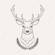Vector Hand Drawn Illustration Of Deer And Laurel Royalty Free ...
