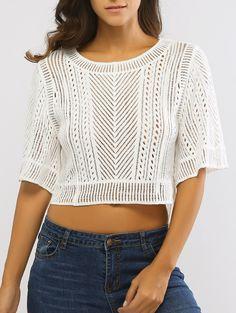 Crop Top   1/2 Sleeve Crochet Knit Crop Top #fashion #style #white #croptop