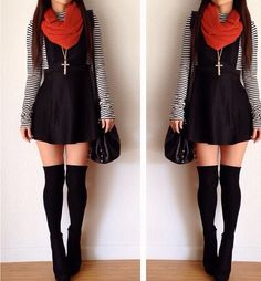 Fall fashion, overall dress, striped shirt, orange circle scarf, knee high socks