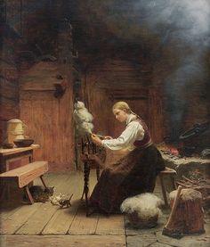 """Interior, Woman at the Spinning Wheel"" [1868] Knud Bergslien [1827 - 1908]"
