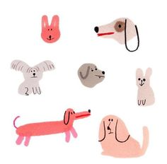 Illustration by Ilka Mészely Art And Illustration, Character Illustration, Dog Drawing Simple, Simple Animal Drawings, Art Design, Dog Art, Cute Art, Illustrators, Pet Dogs