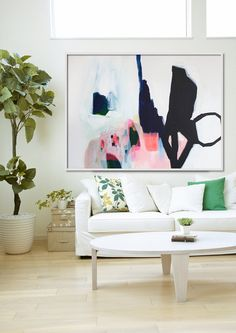 "ABSTRACT print, Giclée print of painting, black, white, pink, ""Aperture of Distinction iii"""