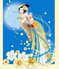 Pajau Yan: is a goddess of the Cham people of Vietnam. She is a goddess of beauty, goodness, and healing.  She has the power to raise the dead, but was punished for this ability and exiled to the moon. She now gives beautiful flowers to the newly deceased, to ease their transition and bring them pleasure.