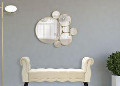 Oglinda decorativa de perete Circles aurie 81x73cm Mirror, Retro, Furniture, Home Decor, Geometry, Decoration Home, Room Decor, Mirrors, Rustic