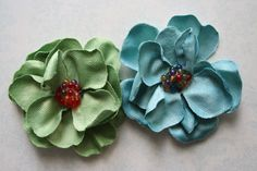 Green and Blue Fabric Flowers Set of 2 Perfect for Headbands or Scrapbooking