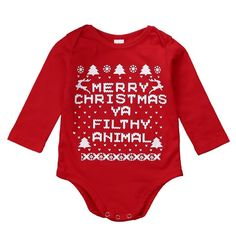 Merry Christmas Ya Filthy Animal Bodysuit or Long Sleeve Onesie in Red For Newborn, Baby, and Toddler's