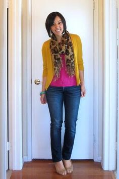 mustard,leopard and magenta 40s Outfits, Pink Outfits, Fall Outfits, Jean Outfits, Cute Outfits, Casual Outfits, Mustard Pants, Mustard Cardigan, Mustard Yellow