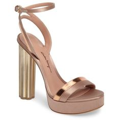 Women's Salvatore Ferragamo Ischia Ankle Strap Platform Sandal (511.125 CRC) ❤ liked on Polyvore featuring shoes, sandals, rose gold satin, leather shoes, leather platform shoes, ankle wrap shoes, flower shoes and ankle strap shoes