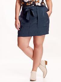 Women's Plus Tie-Belt Skirts