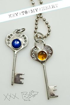 Sterling Silver Skeleton Key Key to my heart Treasure by bamtastic, $335.00