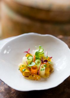 Fall Root Vegetable Salad and Champagne Honey Vinaigrette by Chef Nathan Rich of Twin Farms Vegetarian Starters, Vegetarian Recipes Dinner, Healthy Dishes, Tasty Dishes, Salad Presentation, Fancy Salads, Gourmet Salad, Michelin Star Food, Cooking For A Crowd
