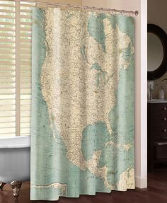 North America Map Shower Curtain – Laural Home North America Map, Central America, Map Globe, Soft Colors, Vibrant Colors, Furniture Decor, Bedroom Furniture, Decoration, New Homes