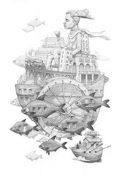 Surreal Drawings, Paintings and Murals by Rustam QBic street art murals drawing Art And Illustration, Illustrations, Arte Alien, Street Art, Colossal Art, Fish Art, Surreal Art, Art Plastique, Art Inspo