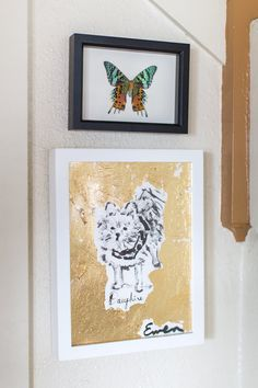 A picture of their beloved dog, Dauphine, made by their friend Anne-Louise Ewen.