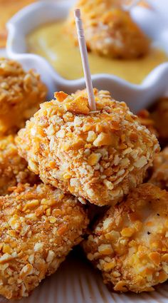 Pretzel Crusted Chicken Bites ~ Coat in crushed pretzels and bake to crisp perfection. Tender on the inside, crunchy on the outside. Everyone loved these!