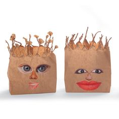 Pumpkin Patch craft - recycled materials - Scarecrow heads. Paper bags with eyes, noses, and mouths cut out of magazines.