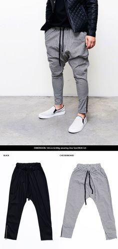 Mens Fashion Drop Crotch Slim Zippered Slacks Baggy Sweatpants By Guylook.com
