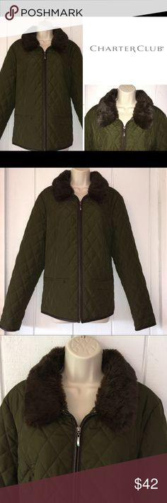 ⬇️$42 Charter Club Lightweight Olive Quilted Jckt Charter Club - Fall 2017 olive green!!! lightweight quilted jacket with removable faux fur collar. LIKE NEW!!! Never worn. Please refer to the site chart included from Charter Club. Smoke free home. Check out my bundle discount! Charter Club Jackets & Coats Puffers